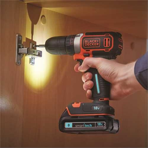Black and Decker - 18V Drill 1A lader 2 batterier og koffert - BDCDC18KBST
