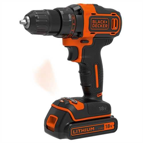 Black and Decker - 18V Drill  400mA Lader  koffert  2 batterier - BDCDD186KB
